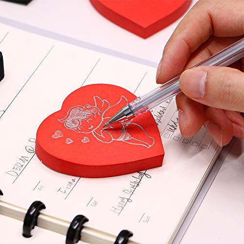 Eagle Cute Die-Cut Heart Shaped Sticky Notes, Red, 100 Sheets Per Pack, Pack of 1 (Red)
