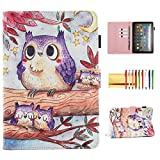 Case for Fire HD 8 2020/Fire HD 8 Plus Tablet 2020, Techcircle 3D Printed Smart Stand PU Leather Folio Magnetic Cover Thin Folding Protective Case with Pen/Card Holder, Sleep Mode, 3D Cute Owl