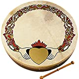 Waltons Bodhrán 18' (Claddagh) - Handcrafted Irish Instrument - Crisp & Musical Tone - Hardwood Beater Included w/Purchase Perfect for St Patrick's Day
