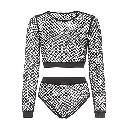 Sexy Dessous Frauen, Mesh Schiere exotische Dancewear Crop Top, Langarm durchsichtig Fishnet Shirts Höschen Slips Damen Dessous