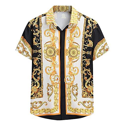 Hemd Herren, Männer Paisley Blumenhemd Kurzarm Regular Fit Sommer Casual Beach Hawaii Shirts