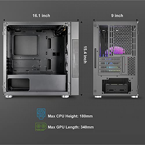 Vetroo M01 Compact Micro ATX Mini ATX Gaming Pc Case, Front 200mm Rainbow Fan Pre-Installed, Door Opening Tempered Glass Side Panel, Mini Tower Black Mesh Computer Case