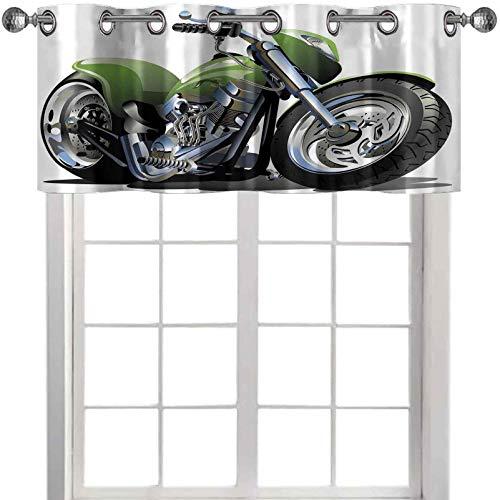 Cenefas de ventana diseño de motocicleta con engranajes y neumáticos supremos de acción urbana Life Print 50' de ancho x 18' de largo cenefas de cocina para ventanas verde plata