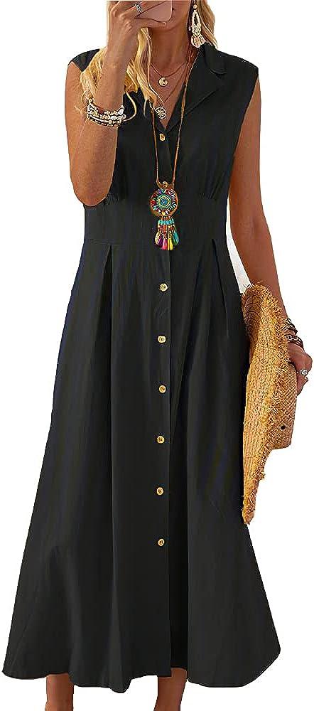 Women's Vintage Lapel Button Down Cotton Shirt Dress V Neck Sleeveless A-Line Midi Casual Loose Dresses