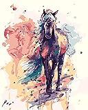 WATAKA DIY Malen Nach Zahlen für Erwachsene und Kinder Vorgedruckt Leinwand-Ölgemälde Kits Home Haus Dekor mit MEHRWEGVerpackung - Schwarzes Pferd 16 x 20 Inch -