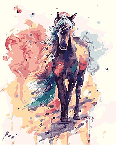 WATAKA DIY Malen Nach Zahlen für Erwachsene und Kinder Vorgedruckt Leinwand-Ölgemälde Kits Home Haus Dekor mit MEHRWEGVerpackung - Schwarzes Pferd 16 x 20 Inch