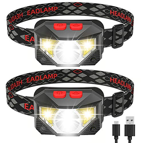 Headlamp Flashlight, IKAAMA 1100 Lumen Rechargeable LED Head lamp with Red Light, 2 Pack Ultra-Light Bright Waterproof Headlight, 8 Modes Work Light for Outdoors Camping Running Biking Fishing