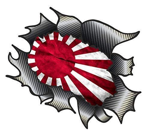 Classique Carbone Rip Métal Déchiré Design avec JDM Soleil Levant Japon Drapeau Motif Sticker Autocollant Vinyle Voiture 105x130mm