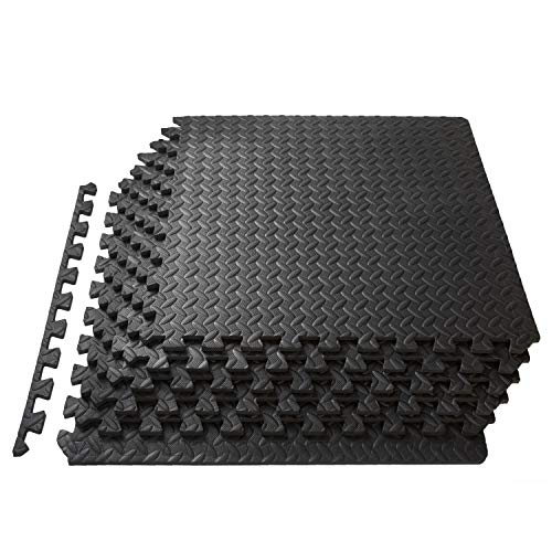 ProSource Puzzle Exercise Mat 13 mm, EVA Foam Interlocking Tiles Protective Flooring for Gym Equipment and Cushion for Workouts - Covers 24 Square Feet - Black by ProSource