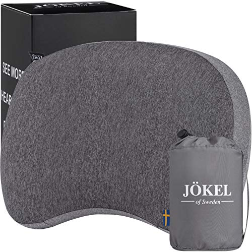 JÖKEL Inflatable Pillow, Travel Camping Pillow with Head, Neck & Back Support, Blow-up Pillows, Grey Compact Air Cushion for Camping, Hiking, Backpacking, Holiday, Festival, Car, Flight & Travelling