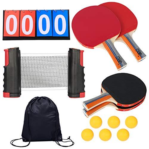 nullie 卓球セット 卓球 ピンポン 伸縮ネット付 ラケット 4本 ダブルス 13点セット