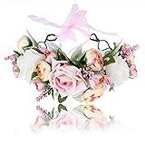 AWAYTR Corona di fasce per capelli da donna per ragazze - Ghirlanda di ghirlande di fiori ...