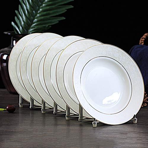 XIUXIU Ensemble Rond De Ménage Européen Simple Plaque 6 Pack Set Vaisselle Santé Et Protection De L'environnement Plat En Céramique (Taille : B)
