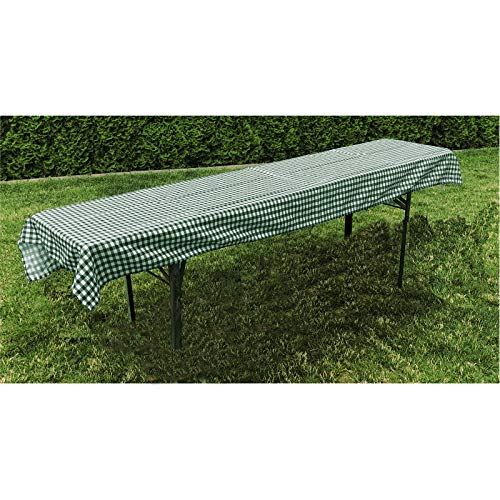 JEMIDI Mantel de tela para mesa de cerveza, banco de cerveza, mesa de jardín, 90 cm x 240 cm, color verde a cuadros