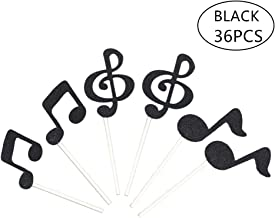 Tim&Lin Glitter Party Cupcake Toppers Decorations, Party Dessert Toppers Decorations - Party Decoration Supplies, Great for Wedding, Birthday, or Any Parties Events, Pack of 36 Black Music Note/36pcs