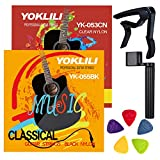 Classical Guitar Strings, Yoklili 2 Sets of Black Hard Tension & Clear Normal Tension Strings, Silver & Gold Copper Alloy Winding, Includes 5 Nylon Picks and 1 Aluminum Capo