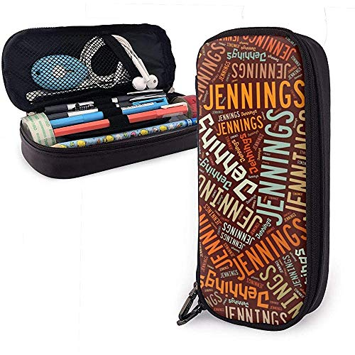 Jennings Amerikaanse achternaam grote capaciteit lederen potlood case pen houder grote opbergvak organizer schoolpen draagbare cosmetische tas