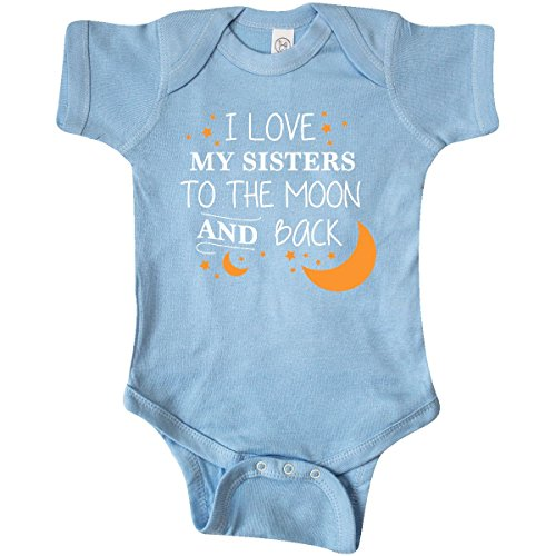 inktastic I Love My Sisters to The Moon and Infant Creeper 6 Months Baby Blue