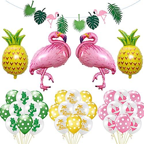BKJJ Decoración de Fiesta Hawaiana Flamingo Globos Suministros Fiesta de Verano Tropical Flamenco de piña Globos para Luau Fiesta Selva Decoraciones 35 Piezas