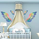 RW-92062 3D Angel Wings Wall Decals Colorful Huge Angel Wings Stickers DIY Removable Angel Wings Graphic Wall Art Murals for Kids Girls Bedroom Living Room Nursery Playroom Party Home Decoration