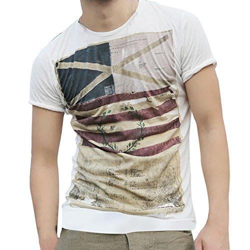 Camiseta para Hombre, Camiseta de Manga Corta con Estampado de Bandera Creativa Element Impresión Manga Corta con Cuello Redondo Camisa Blusa Blusa roou Top Deportiva T Shirt