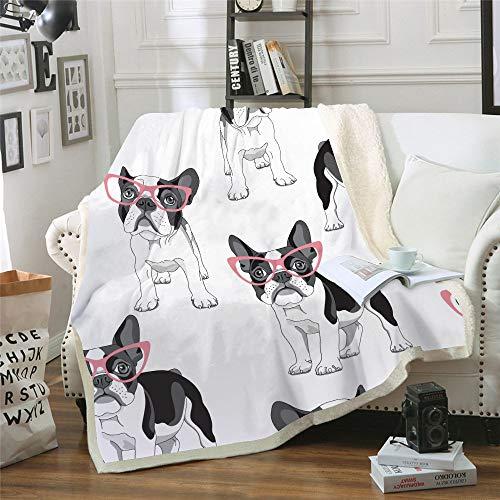WNxiaobaozi deken, beddengoed in warme 3D-druk, zwarte en witte hond en brilmontuur, zachte fleece soft double throw blanket, Sherpa flanel pluche deken voor afdekking slaapbank