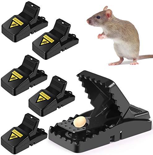 Luatuer Mouse Traps, High Sensitive Plastic Mice Catcher, Reusable Mousetrap Bait Snap Spring Rodent Catcher Pest Control Traps (6PCS)