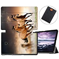 MAITTAO Galaxy Tab A 10.5 2018 Model SM-T590/T595/T597, Slim Folio Shell Case Stand Cover with Auto Wake/Sleep for Samsung Galaxy Tab A 10.5 Inch Tablet Sleeve Bag 2 in 1 Bundle, Flowers & Leafs 1