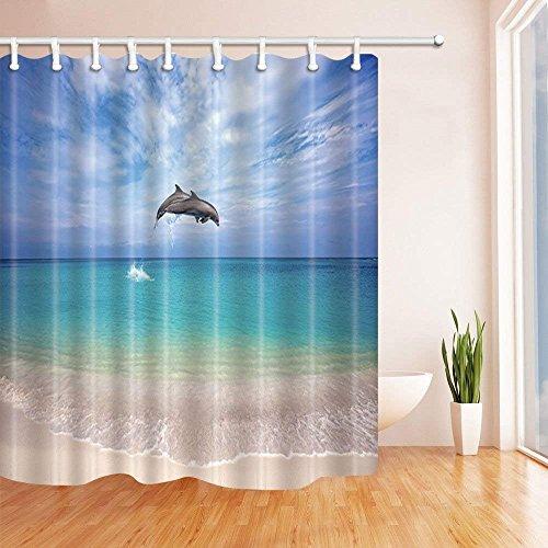 CDHBH Cortinas ducha con diseño animales del océano dos de