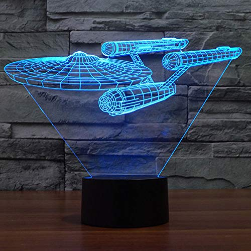 Smalody Star Trek Battleship 3D Optical Illusion Multi-Colored Change Touch Botton Desk Lamp Table Light Home Decor (Colorful)