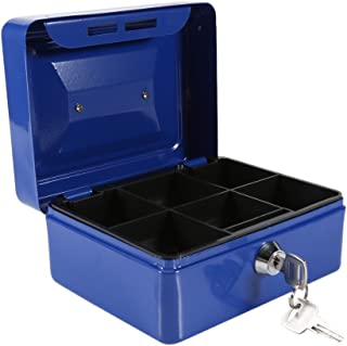 Mini Portable Steel Petty Lockable Cash Money Coin Safe Security Box Household(Blue)