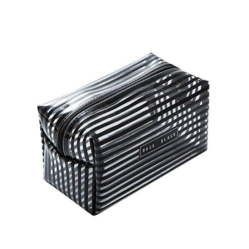 FEDBNET Trousse de toilette portable étanche Transparent, Noir , s