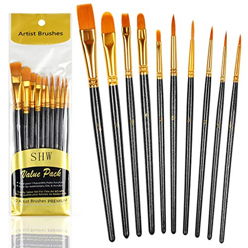 10PCS Paint Brushes Set Nylon Hair Brush for Acrylic Painting Oil Painting Watercolor Painting...