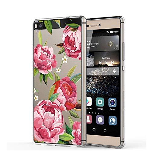 Funda transparente de silicona TPU para Huawei P8, antiarañazos, antideslizante, diseño de mármol, hojas y flores, funda protectora para Huawei P8 2 M