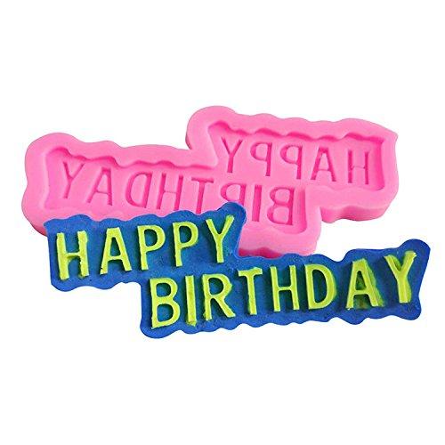 Cosanter Happy Birthday Moule en Silicone Anniversaire Moule à Gateau DIY Outil pour Gâteaux Chocolats