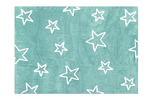 Aratextil. Alfombra Infantil 100% Algodón lavable en lavadora Colección Estrella Mint 120x160 cms