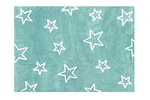 Aratextil. Alfombra Infantil 100% Algodón lavable en lavadora Colección Estrella Mint 120x160...