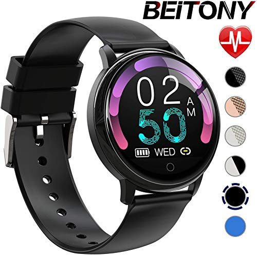 beitony Smart Watch, Activity Tracker Watch with Heart Rate Monitor, IP68 Waterproof Pedometer with Sleep Monitor, Step Counter, Calories Counter for Android & iPhone (BlackSilicon)