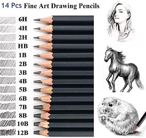Malayas - Skizzen-Set, 14-teilig, Graphit-Bleistifte, 12B, 10B, 8B, 7B, 6B, 5B, 4B, 3B, 2B, B, HB, 2H, 4H, 6H, für Kinder, Erwachsene, Künstler, Studenten, Anfänger