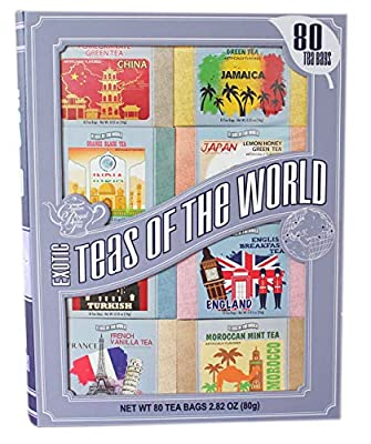 Exotic Teas of The World Gift Set, 80 Tea Bags, 8 Different Flavors