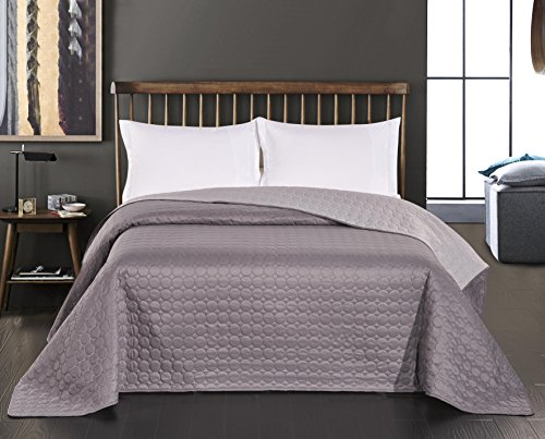 DecoKing Tagesdecke 220 x 240 cm Stahl grau anthrazit Silber Bettüberwurf Kreisen zweiseitig leicht zu pflegen Salice