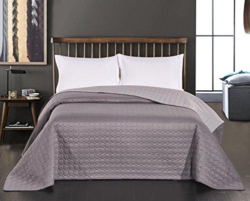 DecoKing Premium 74572 Tagesdecke 220 x 240 cm Stahl grau anthrazit Silber Bettüberwurf Kreisen zweiseitig pflegeleicht Salice