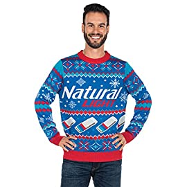 "Tipsy Elves Men's Natural Light Ugly Christmas Sweater - Natty Light Xmas Sweater 9 ""****LAST CHANCE! Order Today and Save with our Lowest Priced Deals of the Holiday Season. While supplies last!****"" Match together and step your greeting card game this year with Tipsy Elves' amazing bright and colorful holiday themed apparel. Make your outfit perfect and match with the people closest to you, whether it's in person or socially distant, there's more than one way to be together this season. Become one with the season and take the perfect family photo in your cozy cute matching holiday outfits! Inside or outside, Tipsy Elves' funny holiday shirts are the perfect way to stand out this year! Whether it's a video call with friends or hanging out in person, everyone will notice how jolly you are!"