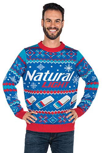 Tipsy Elves Men's Natural Light Ugly Christmas Sweater - Natty Light Xmas Sweater: Large Blue