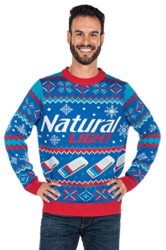 Tipsy Elves Men's Natural Light Ugly Christmas Sweater - Natty Light Xmas Sweater (Blue, Medium)