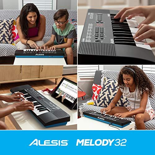 Alesis Melody 32 – Mini Tastiera Pianoforte Portatile a 32 Tasti con Casse Integrate, 300 Suoni, 40 Brani Dimostrativi e Connettività USB-MIDI