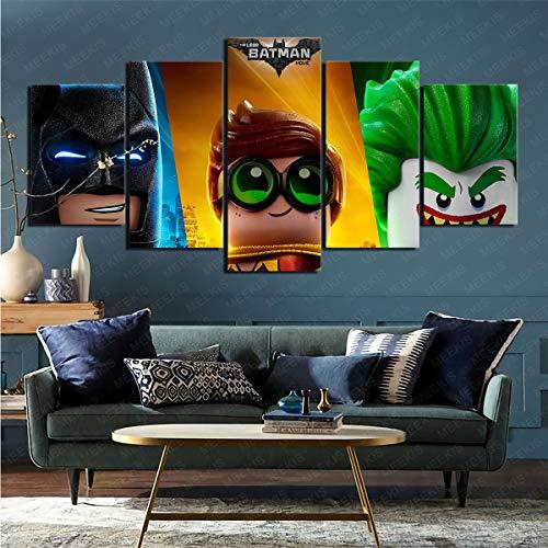 Lienzo de Artista Plano Juego de 5 Piezas Película The Lego Batman Película Foto Decoración del hogar Obra de Arte 50x100cm (Sin Marco)