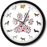 CXSMKP Orologio da Parete a Emissione Luminosa attivato dal Suono Razze di Cani Misti Ritratto Orme di Animali del Fumetto Cornice in Metallo Luce Notturna 12 Pollici