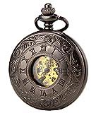 SEWOR Vestido Doble Abierta mecánico Mano Viento Reloj de Bolsillo + Banda Piel Caja de Regalo (Negro)