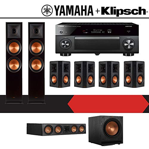 Klipsch RP-8000F 7.1-Ch Reference Premiere Home Theater Speaker System with Yamaha AVENTAGE RX-A2080 9.2-Channel 4K Network AV Receiver